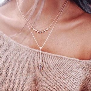 Stella & Dot Rose Gold Tiered Lariat Necklace